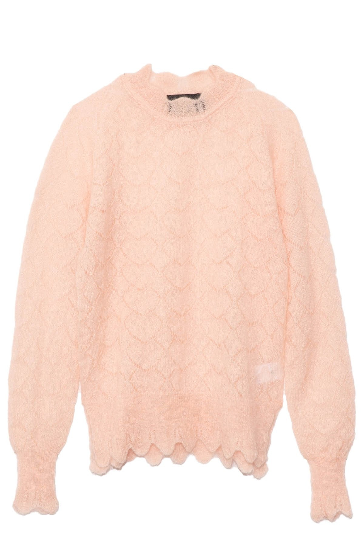 Long Sleeve Heart Stitch Jumper in Baby Pink: image 1