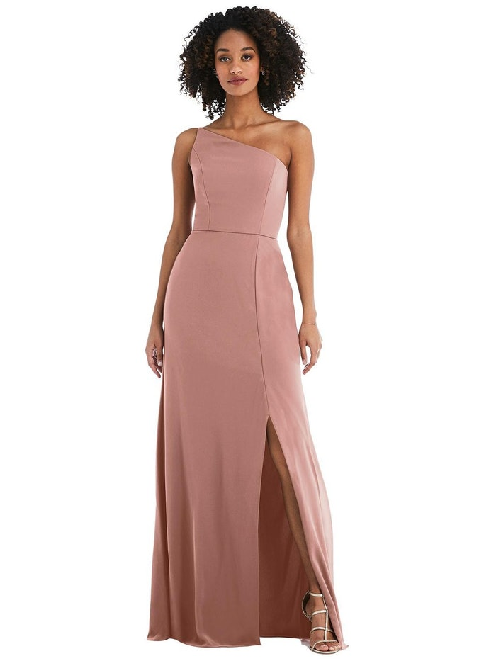 Skinny One-Shoulder Trumpet Gown with Front Slit: image 1