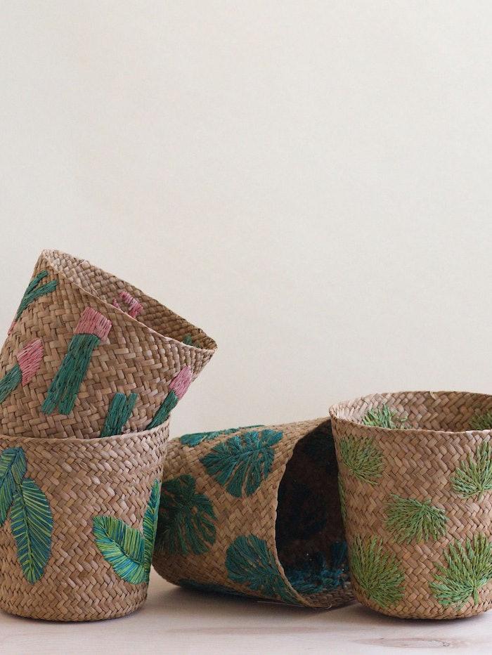 Banana Leaf Embroidery Soft Woven Basket - Plant Baskets: image 1