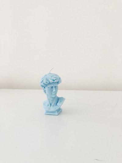 David's Head Candle - Blue: image 1