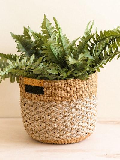 Golden Brown Patterned Round Floor Basket - Storage Bins: image 1