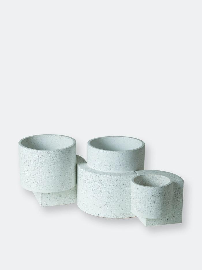 Platform Planters, Minimalist Set (One Small White, Two Medium White): image 1
