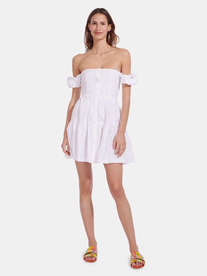 Mini Elio Off Shoulder Button-Front Dress: image 1