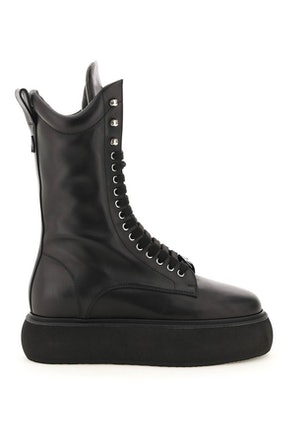 The Attico Selene Leather Flatform Boots: image 1