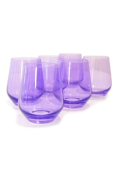 Colored Stemless Wine Glasses in Lavender - Set of 6: image 1