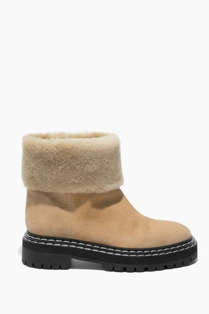 Lug Sole Shearling Ankle Boot in Cream: image 1