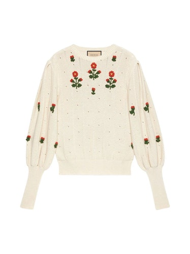 Round Neck Floral Sweater: image 1