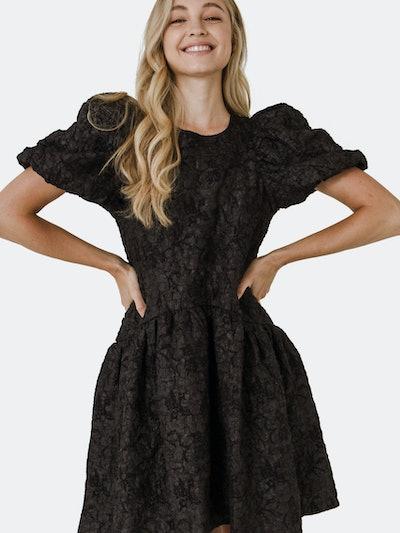 Puff Sleeve Drop Waist Dress: image 1