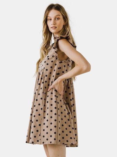 Dotted Babydoll Mini Dress: image 1