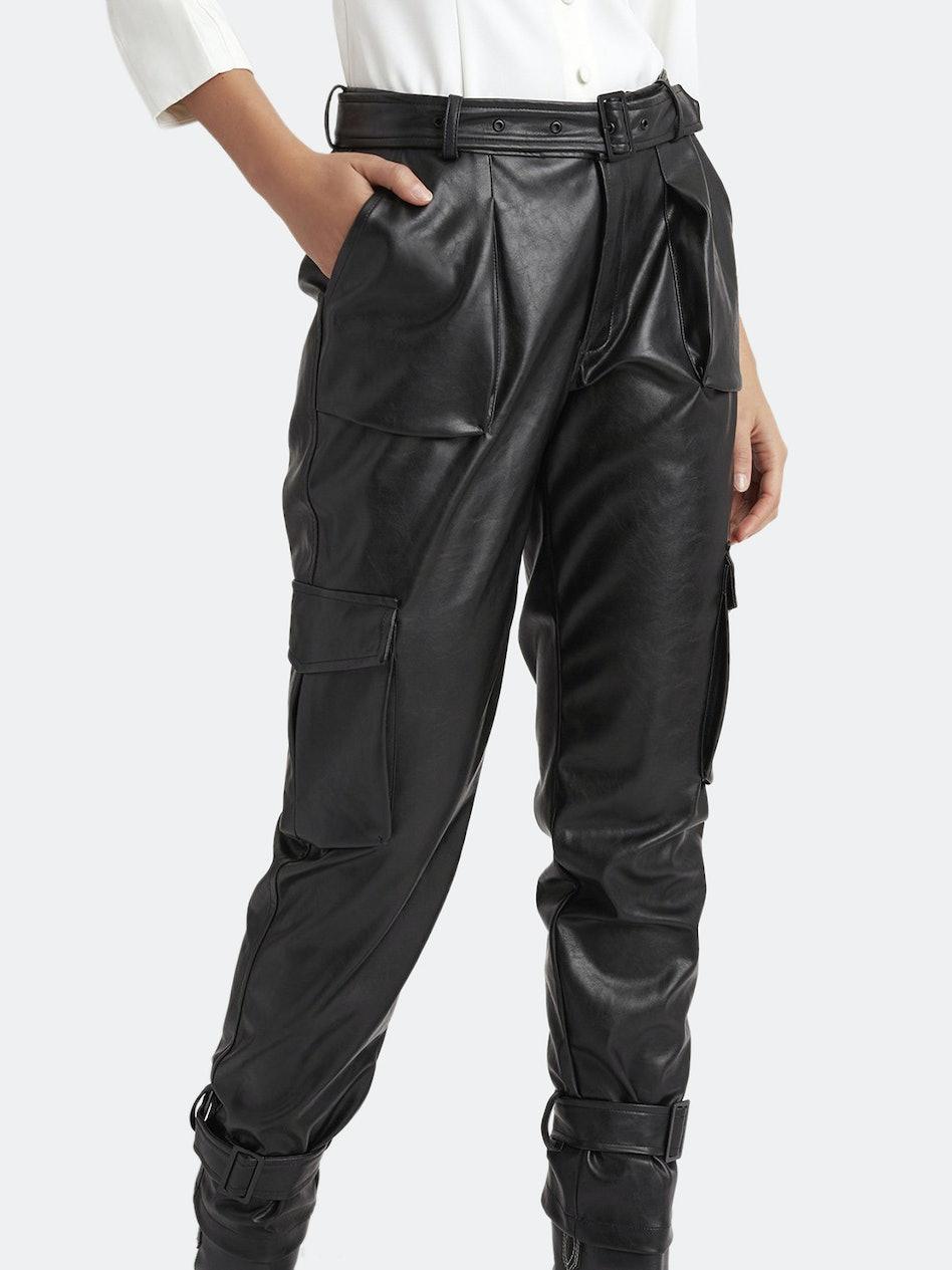Bridget Buckled Cuff Vegan Leather Pants: additional image