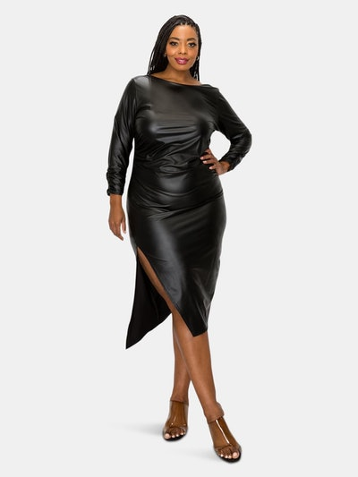 Faux Leather Ruched Sleeves Midi Dress: image 1