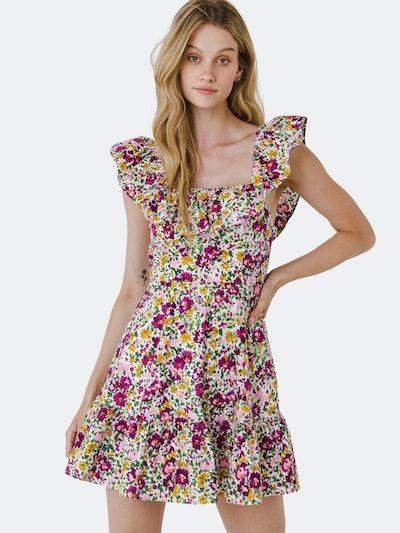 Floral Print Ruffled Dress: image 1