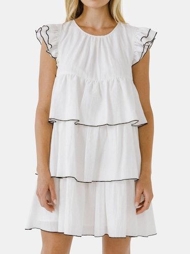 Contrast Detail Babydoll Dress: image 1