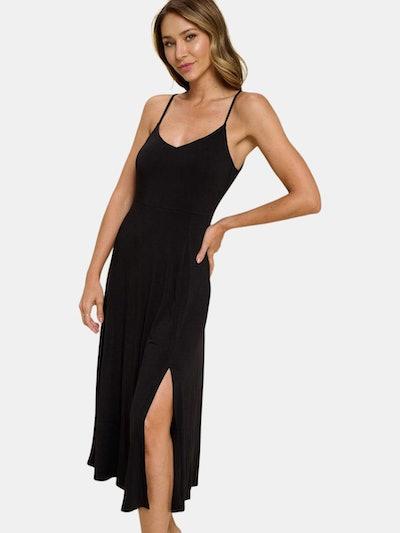 Lilah Solid Strap Dress: image 1