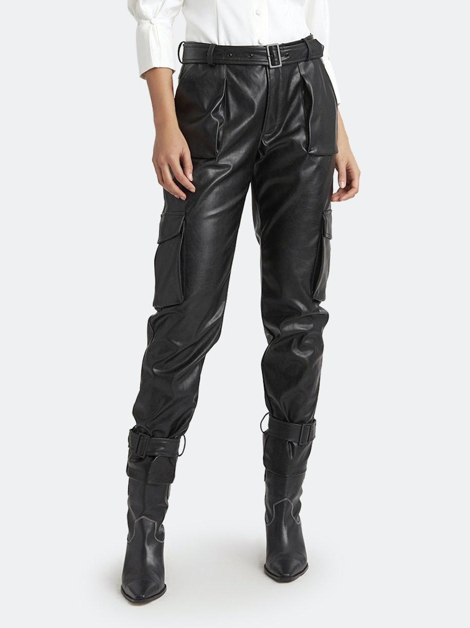 Bridget Buckled Cuff Vegan Leather Pants: image 1