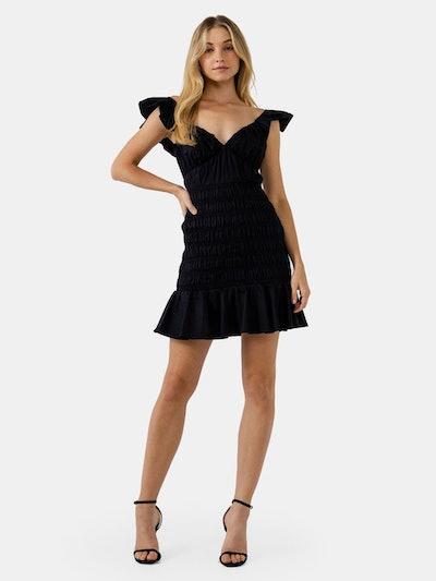 Ruffle Sleeve Smocked Mini Dress: image 1