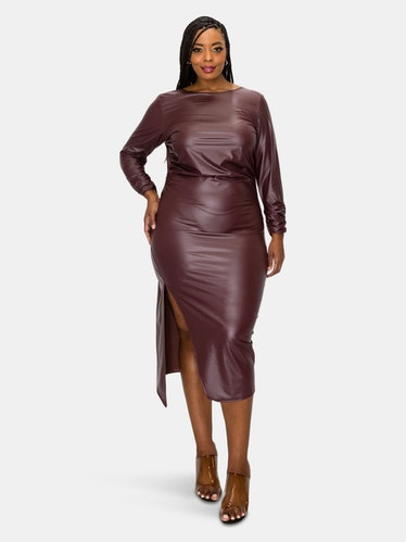 Faux Leather Ruched Sleeves Midi Dress: additional image