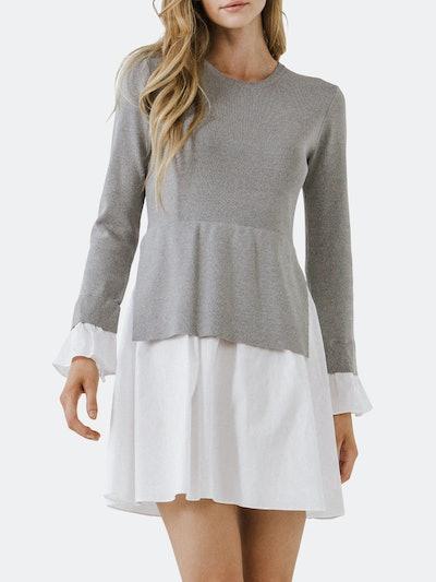 Poplin Combo Knit Dress: image 1