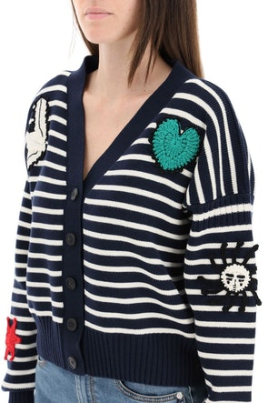 Alexander Mcqueen Striped Cardigan With Crochet Embroidery: image 1