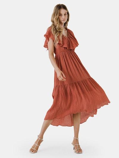 Midi Dress with Ruffle Detail: image 1