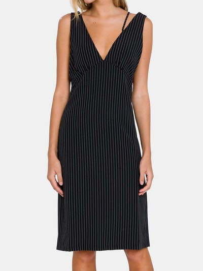 Pinstripe Dress with Straps Detail: image 1