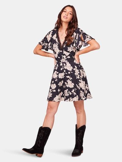 Agave Black and Ivory Flutter Sleeve Mini Dress: image 1