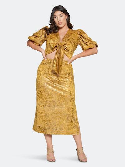 Cheetah Foil Wrap Top and Midi Skirt Set: image 1