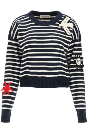 Alexander Mcqueen Striped Sweater With Crochet Embroidery: image 1