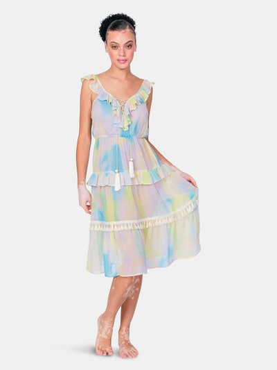 Tiered Lolly Cover Up Dress with Lace Up Front: image 1