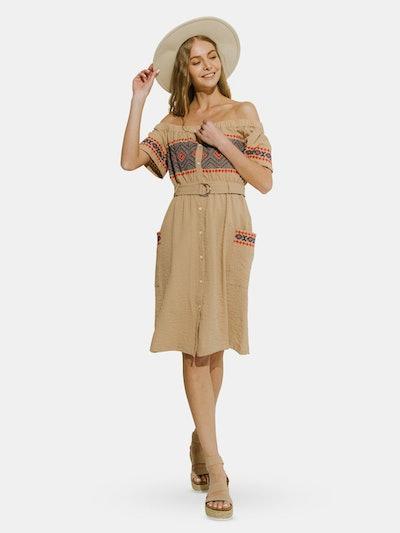 Off the Shoulder Embroidered Dress: image 1