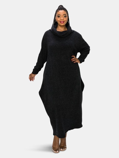 Neck Cowl Sweater Rib Dress: image 1