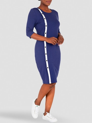 Pauline Snap Button Knee Length Sheath Dress: image 1