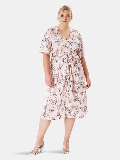 Lily Dress in Blossoms Pale Peach (Curve): image 1