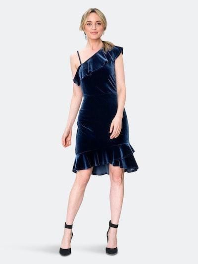 Tereza  Asymmetrical Dress in Midnight Velvet Blue: image 1