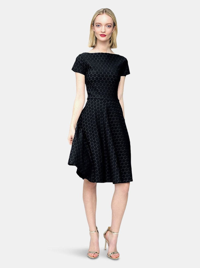Cap Sleeve Circle A-Line Dress in Black Luxe Jacquard: image 1