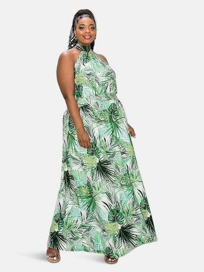 Tropical Halter Neck Maxi Dress: image 1