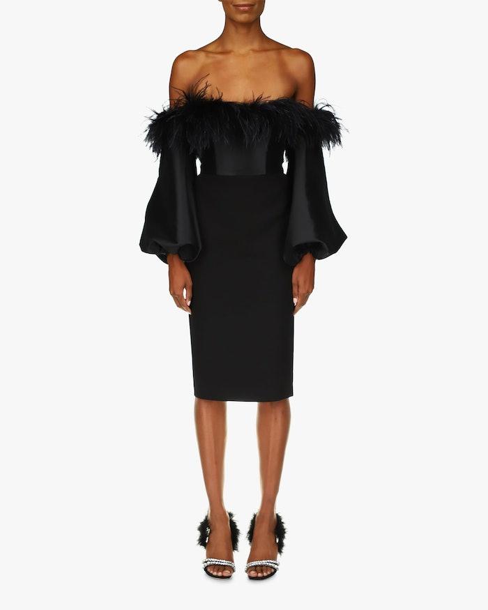 Feather Off-Shoulder Cocktail Dress: image 1