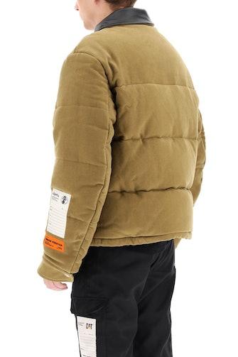Heron Preston Down Jacket With Leather Collar: image 1