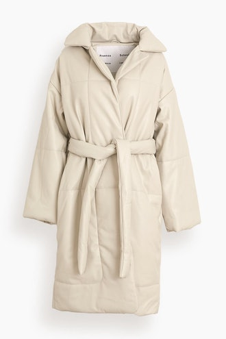 Faux Leather Puffer Coat in Off White: image 1