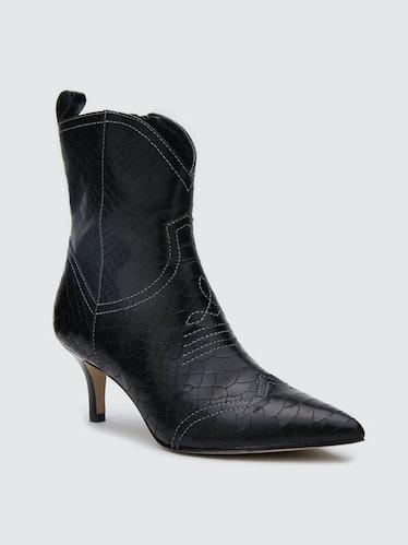 Aubrey Black Leather Boot: image 1