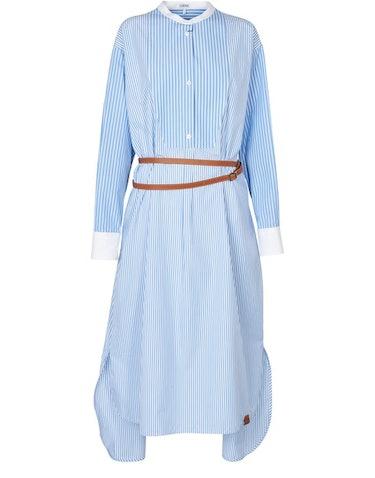 Stripe shirtdress leather belt: image 1