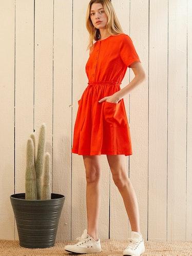 Short Sleeve Utility Dress in Poppy: image 1