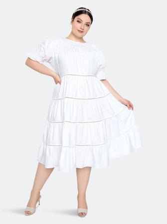 Tiered Poplin Dress: image 1