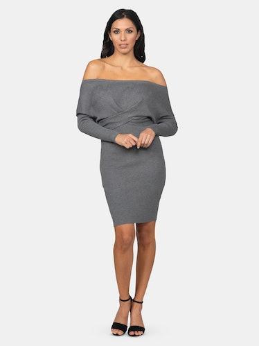 Off-The-Shoulder Sweater Dress: image 1