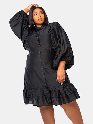 Silk Effect Voluminous Shirt Dress: image 1