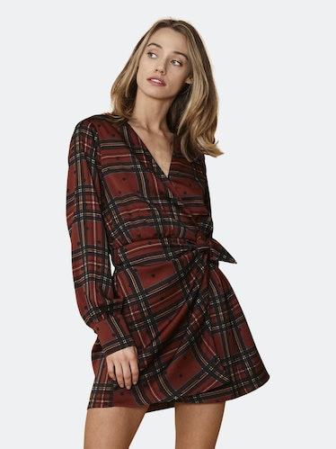 Plaid-polkadot Mini Wrap Dress in Brick: image 1