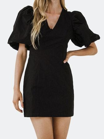Puff Sleeve Mini Dress: image 1