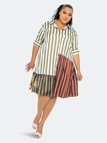 Patchwork Stripe Shirt Dress: image 1