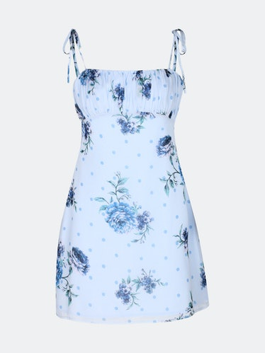 Blossom Mini Dress- Dusty Blue Floral: image 1