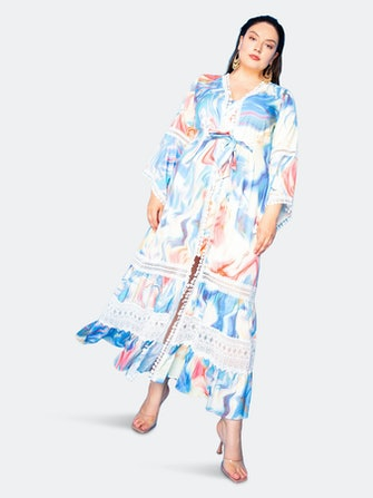 Long Print Dress with Lace Insert: image 1